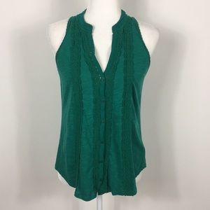 Meadow Rue | Anthropologie Green Button Front Tank